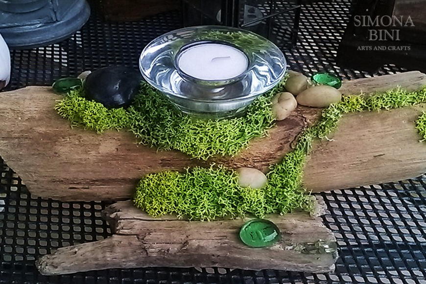 Legni dal mare – Portacandela con muschio – Candle holder with moss