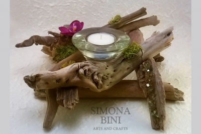 Legni dal mare – Portacandela con orchidea – Candle holder with orchid