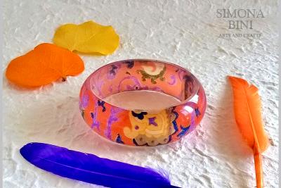 Bracciale in resina arancione – Orange resin bracelet