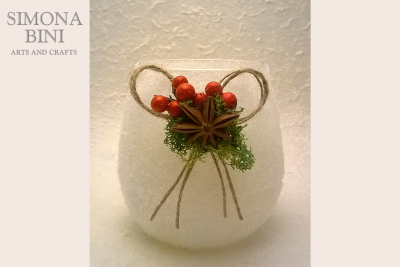 Candela in bicchiere con neve – Candle in glass with snow