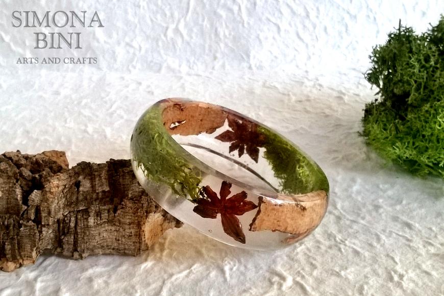 Bracciale con muschio corteccia e anice stellato – Bracelet with moss bark and star anise