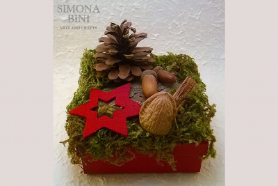 Scatola natalizia con pigna e stella rossa – Christmas box with pine cone and red star