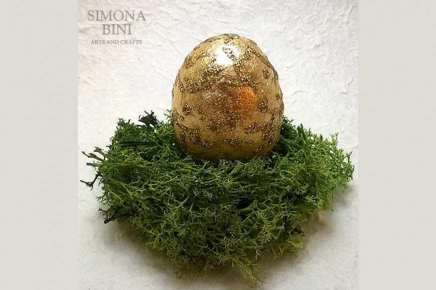 Ovetto di Pasqua oro con glitter – Gold Easter egg with glitter