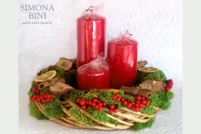 Centrotavola natalizio con candele – Christmas centerpiece with candles