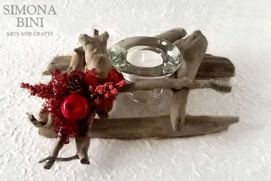 Legni dal mare – Portacandela con melina – Candle holder with little apple