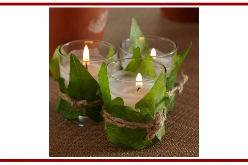 Idee dal web per una candela con edera – Ideas from the web for a candle