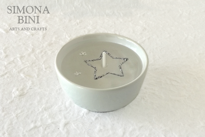 Candela in gel con stellina glitter argento – Gel candle with glitter star