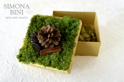 Scatola autunnale con pigna – Autumn box with pine cone