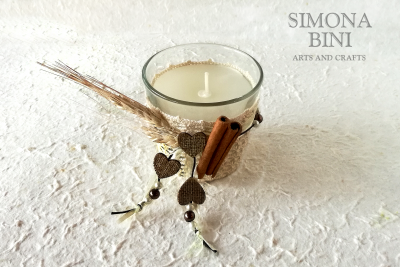 Candela con spighe e cannella – Candle with ears and cinnamon