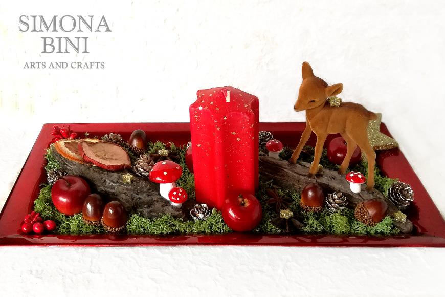 Un centrotavola per Natale in rosso con cerbiatto  – A Christmas centerpiece white and gold with fawn
