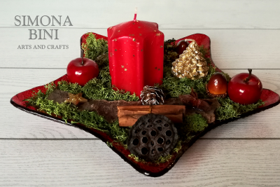 Due centrotavola con candela per Natale – Two Christmas' centerpieces  with candle