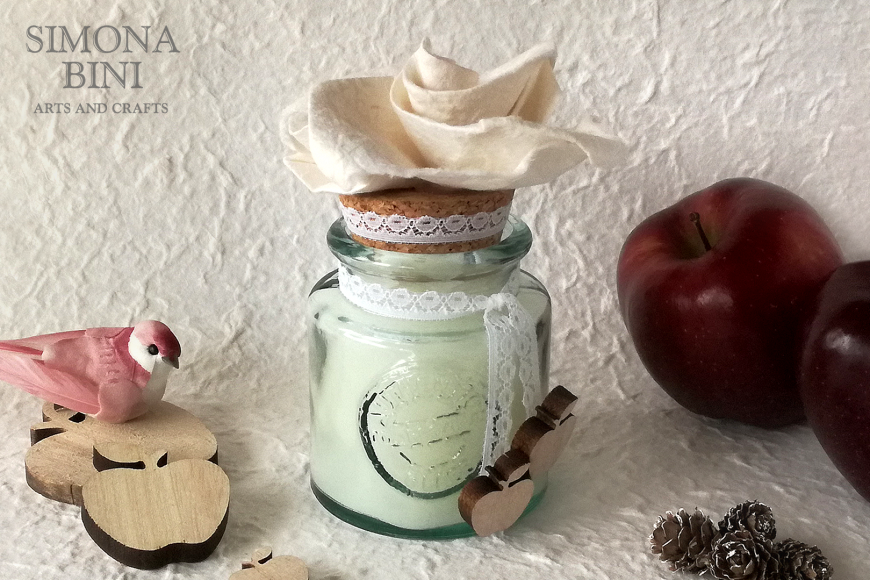 Candela con fiore origami – Candle with origami's flower