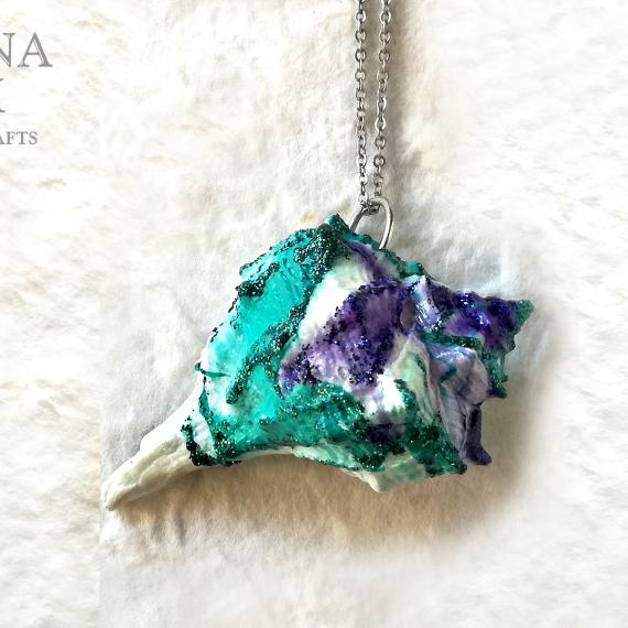 Ciondolo conchiglia verde acqua viola e glitter – TUTORIAL