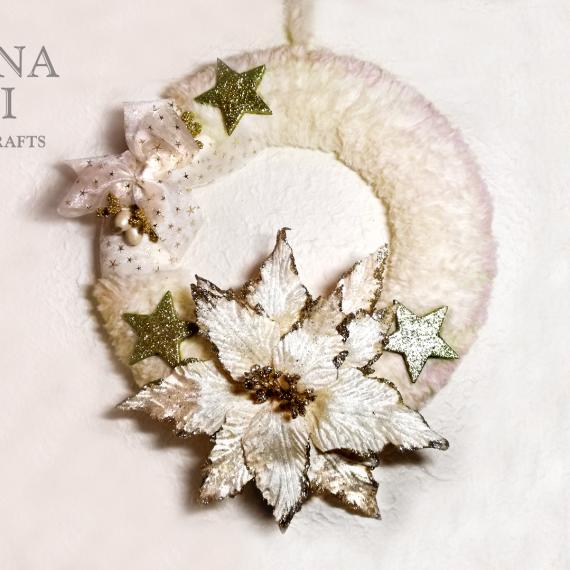Una bianca ghirlanda di Natale con oro – TUTORIAL
