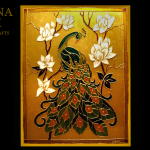 Dipinto su vetro con base oro e pavone – Painted on glass with gold base and peacock