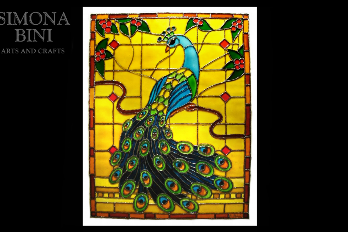 Dipinto su vetro con pavone – Painted on glass with a peacock