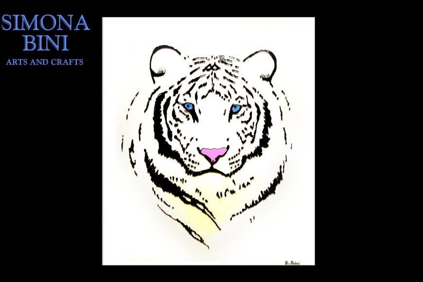 Dipinto su vetro Tigre bianca – Painted on glass White tiger
